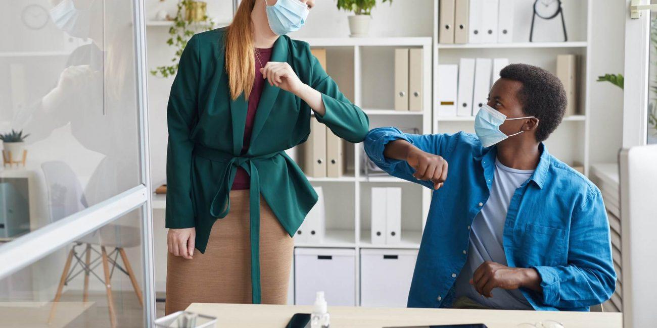 greeting-at-post-pandemic-office